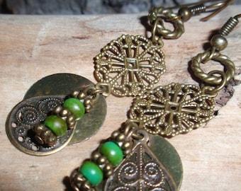 Turquoise Dangle Bronze Earrings