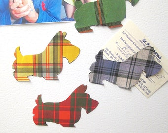 Tartan Scottie Dog Fridge Magnet - Black Scottie Westie Terrier Dog Refrigerator Fridge Magnets