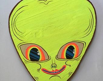 Flourescent yellow Alien head