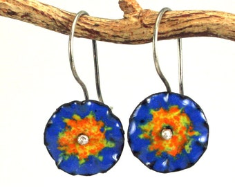 Ruffled Royal and Yellow/Orange colorful dangle Earring Copper Enamel