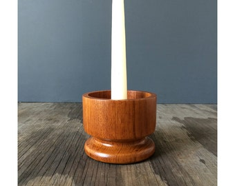 1950s Mid Century Pillar Candle Holder - Teak