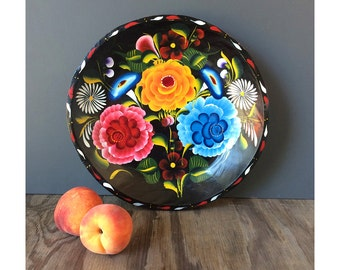 1960s Wooden Platter from Mexico - Painted Flower Plate