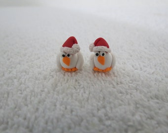 White Chicken in a Santa Hat Original Handmade Cute Holliday Chicken Earrings 1 pr by Shannon Ivins
