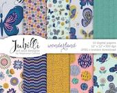 """Wonderland Digital Paper: """"Wonderland"""" butterflies in navy, pink, green, butterfly, flower, bee, art for scrapbooking, papercraft, parties"""