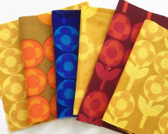 6x Vintage 60s Heals fabric squares called Verdure by Peter Hall - for small sewing projects Pack C
