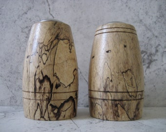 Hand turned Salt and Pepper Shakers (Spalted Tamarind)