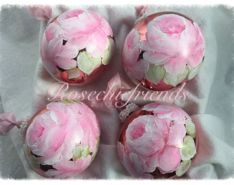 """Shabby Chic Hand Painted Pink ORNAMENTS 3.5"""" ECS svfteam"""