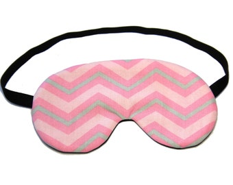 Pink and Grey Chevron Sleep Eye Mask, Sleeping Mask, Travel Mask, Eye Mask, Sleep Mask
