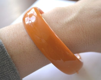 Orange Bangle, Vintage Bangle, Pumpkin Orange Bangle, Bracelet, Bangle, Vintage Bracelet, 1970's Bangle, Acrylic Bangle