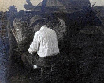 vintage photo 1911 Man White Shirt HAt Milking Cow Last Rays of Sunset