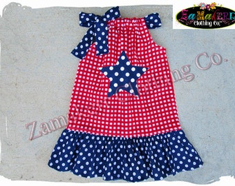 2T 24 month 3T / 3 ONLY CLEARANCE SALE Girl Pillowcase Dress Fourth 4th of July Red White Blue Star Summer Birthday Size 24 month 2 2T 3 3T