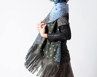 Wide fringed scarf, Starry scarf in dark green and sky blue, Leather and fabric shawl, stars and lace pattern, Fringed scarf