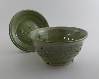Handmade Ceramic Berry Bowl - Stoneware Colander and Drip Plate - Kitchen Essential - Food Strainer - Carved Leaf Design  Celadon Green s473