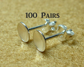 925 Sterling Silver PAD Earring Posts (6mm.) and Earring Backs - 100 Pairs (200 Pieces)