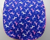 Youth/Junior Bib - Girl- Special Needs, Cerebral Palsy, Epilepsy, Seizures, Drooling, Retts, 14-inch Neck Opening: Pink Unicorns on Purple