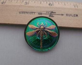 Dragonfly Green gold purple Large Czech glass button