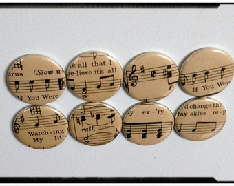 Set of eight, vintage sheet music magnets