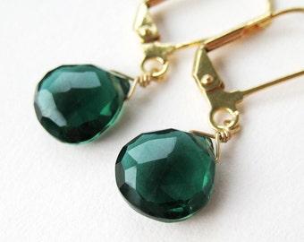 Dark Emerald Green Quartz Earrings, Gold Dangle Earrings, Ivy Green Briolette, Faceted Teardrop Lever Back Earrings, Forest