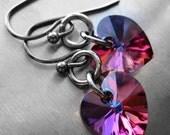 SALE - Crystal Heart Earrings, Multicolor Rainbow Heart Earrings, Purple Indigo Crystal Heart Earrings, Valentines Gift, Girlfriend Gift