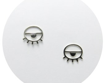 Eye Studs | Happy Eye Stud Earrings in Solid Sterling Silver OR Solid .9ct Yellow Gold Earrings Handcrafted by Ginny Reynders