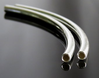 Sterling Silver 40mm Tube Bead Silver Noodle Bead Curved Tube :  2 pc Sterling Silver Curved Tube Findings