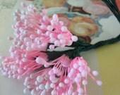 Vintage Millinery / Floral Pips-Peps / Matte Pink / Stamens / Bunch of Twelve / Flower Centers