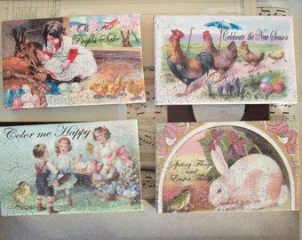 Sale / Vintage Style / Easter Decorations  / Four Items / Assorted / Postcard / Altered Art / Assemblage / Stretched Canvas