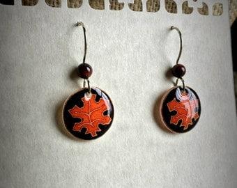 Eco Burnt Orange Maple Leaf  Pysanky Batik Egg Shell Earrings