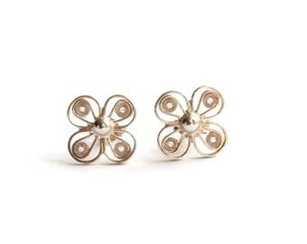 Filigree Stud Earrings/Sterling Silver/Handmade Jewelry/Simple and Elegant/Gift Ideas