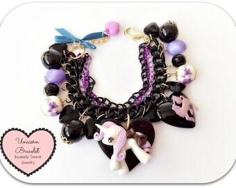 Unicorn Charm Bracelet- Black and purple beads