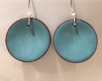 Torch Enamel Disc Earrings in Aquamarine