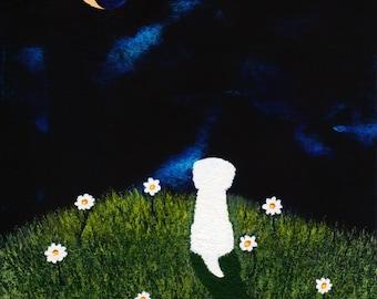 Maltese Dog Bichon Frise Folk art print by Todd Young DAISY HILL