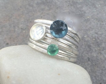 25% OFF - Sterling Silver Rainbow Moonstone London Blue Topaz Emerald Stacking Rings - US Size 7