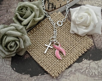 Cross & PINK Awareness Ribbon Charm Lariat Ydrop Necklace - Breast Cancer Jewelry- Mastectomy Survivor #L9