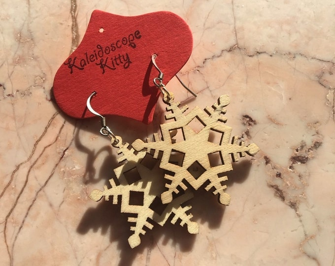 Wood Cut Snowflake Holiday Earrings