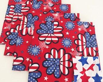 4th of July Napkins, Patriotic Napkins, Stars and Stripes Floral Napkins
