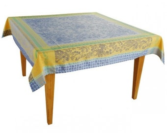 French Jacquard Tablecloth and Napkins, Blue Tablecloth, Teflon Treated Tablecloth