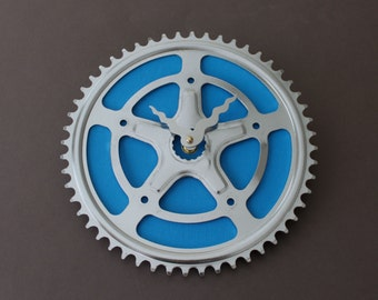 Bicycle Gear Clock - Blue Star Vintage  |  Bike Clock  | Wall Clock | Recycled Bike Parts Clock