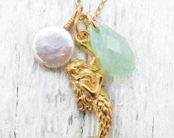 mermaid necklace, gold mermaid necklace, mermaid gift, beach wedding necklace, white pearl, sea foam pendant, sea foam green, gift for her