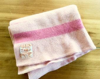 Baby Hudson's Bay Wool Blanket. Vintage Pink Hudson Bay 1.5 Point Blanket. Lap Blanket. Baby Blanket. Stroller Blanket. Child Size.