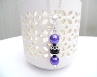 Purple and Black Pearl Necklace, Pendant, Silver Wedding Jewelry, Beaded Necklace, Pearl Bridesmaids Necklaces, Simple Everyday Jewelry