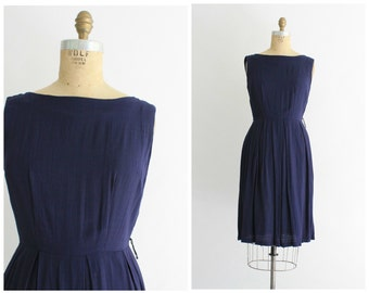 50s navy blue dress | vintage 1950s boat neck dress | vintage day dress | small