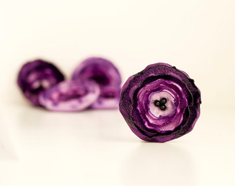Handmade fabric flowers - 6 purple fake flowers, wedding flowers, handmade appliques, decoration, table decor, artificial flowers, bouquet