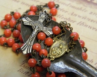 Vintage Rosary Coral Glass Beads Pressed Glass Italy