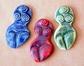 3 Handmade Ceramic Mosaic Tiles - Stoneware Goddesses Cabochoms - Goddess of Willendorf - Ancient Fertility Goddess