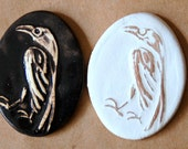 2 Large oval raven cabochons