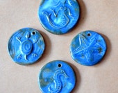 4 Handmade Ceramic Beads - Magical Blue with Teal Ocean Themed Pendants - Mermaid, Turtle, Seahorse and Sea star - Handmade Pendants