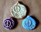 3 Handmade Ceramic Beads - Pinch top Peace Sign Beads - Handmade beads for hemp pendants