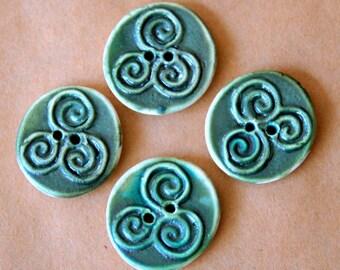 4 Handmade Buttons - Moss Green Triple Spiral Buttons in Stoneware