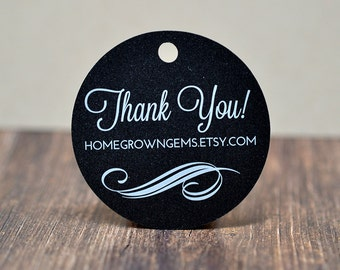 Custom Thank You Tags Black with White Printing - Ornate Design Bottom | DS0112WHITE